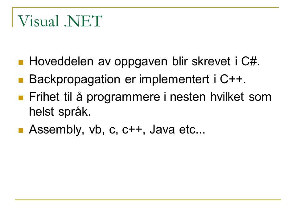 Visual.NET Hoveddelen av oppgaven blir skrevet i C#.
