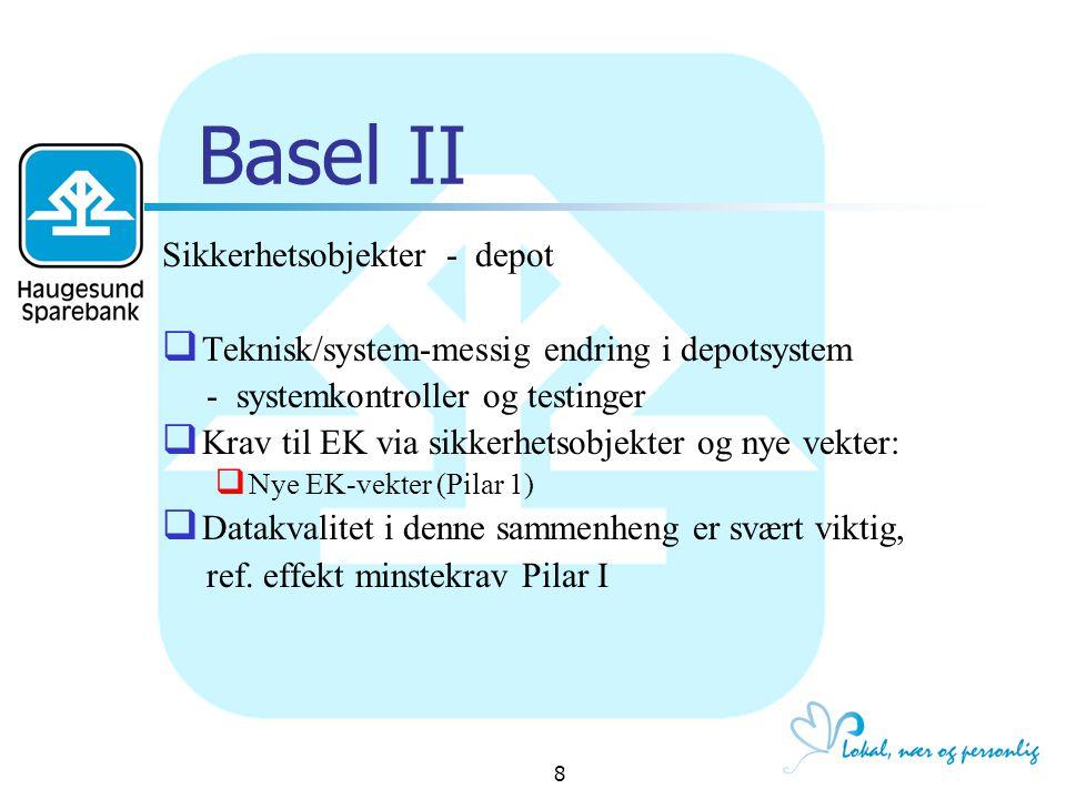 19 Basel II - Pilar II - Markedsrisiko Strategi og overordnede retningslinjer - Strategi - Markedsrisikorammer - Sentrale retningslinjer Organisering og ansvarsforhold - Organisering og ansvarsforhold - Ressurser og kompetanse - Insentivsystemer Måling av markedsrisiko Porteføljesystemer mv.