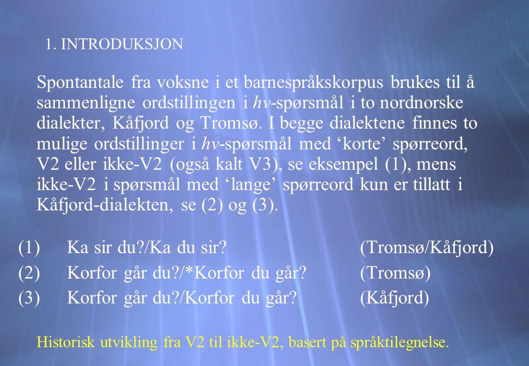 1. INTRODUKSJON Spontantale fra voksne i et barnespråkskorpus brukes til å sammenligne ordstillingen i hv-spørsmål i to nordnorske dialekter, Kåfjord