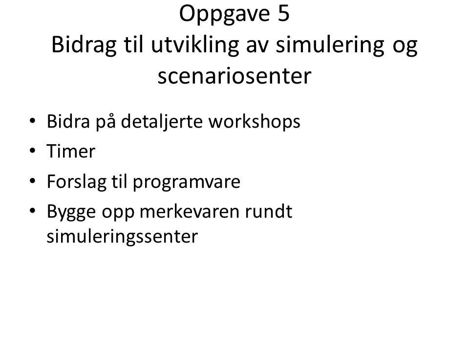 Oppgave 5 Bidrag til utvikling av simulering og scenariosenter Bidra på detaljerte workshops Timer Forslag til programvare Bygge opp merkevaren rundt