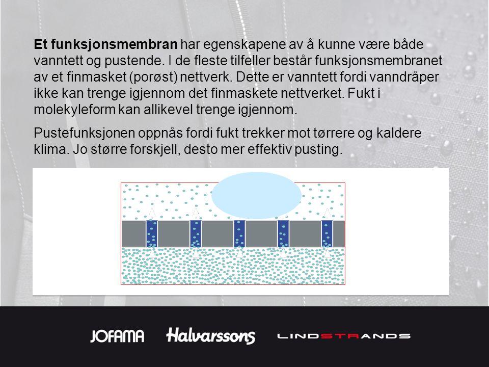 Et funksjonsmembran har egenskapene av å kunne være både vanntett og pustende. I de fleste tilfeller består funksjonsmembranet av et finmasket (porøst