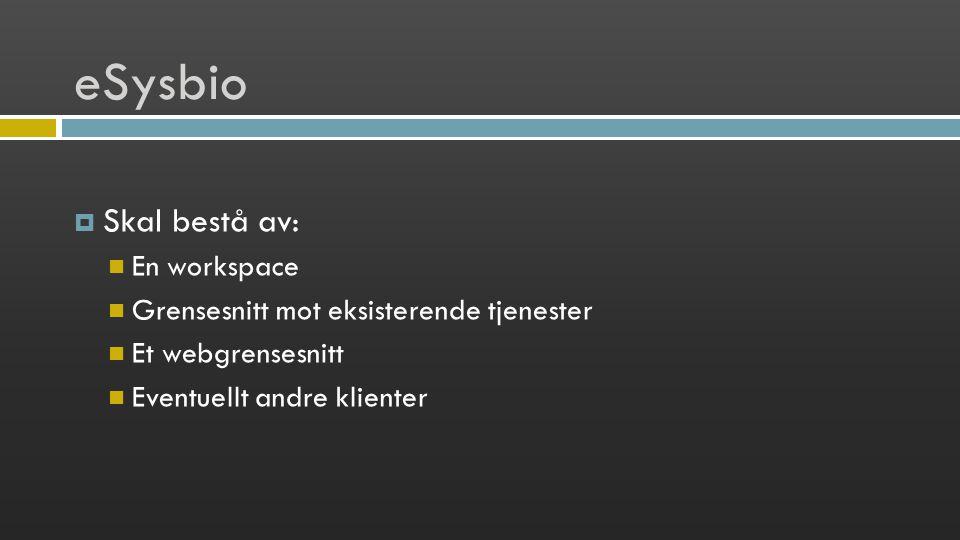 eSysbio  Skal bestå av: En workspace Grensesnitt mot eksisterende tjenester Et webgrensesnitt Eventuellt andre klienter
