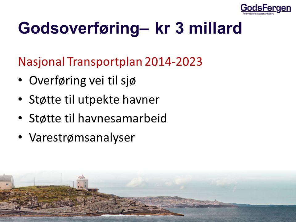 Godsoverføring– kr 3 millard Nasjonal Transportplan 2014-2023 Overføring vei til sjø Støtte til utpekte havner Støtte til havnesamarbeid Varestrømsana