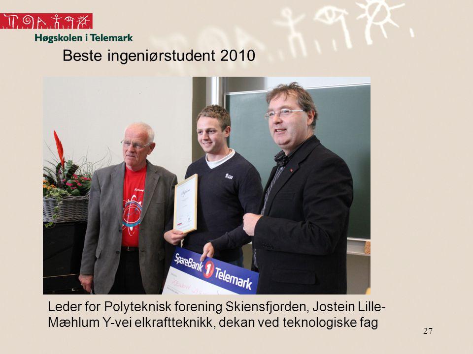 27 Beste ingeniørstudent 2010 Leder for Polyteknisk forening Skiensfjorden, Jostein Lille- Mæhlum Y-vei elkraftteknikk, dekan ved teknologiske fag
