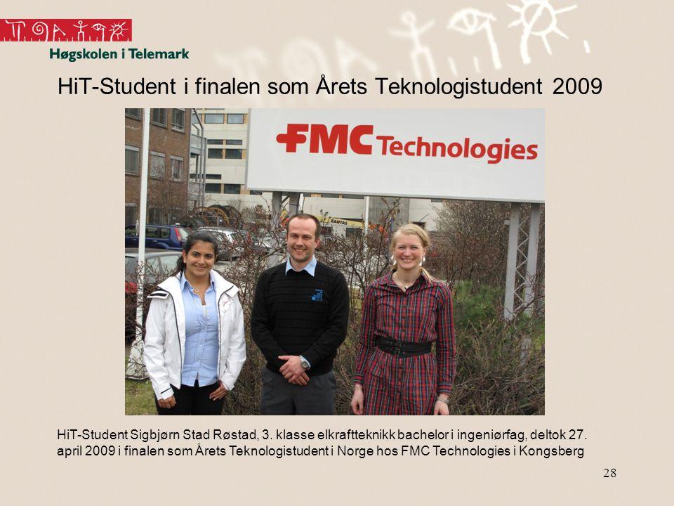 28 HiT-Student i finalen som Årets Teknologistudent 2009 HiT-Student Sigbjørn Stad Røstad, 3. klasse elkraftteknikk bachelor i ingeniørfag, deltok 27.
