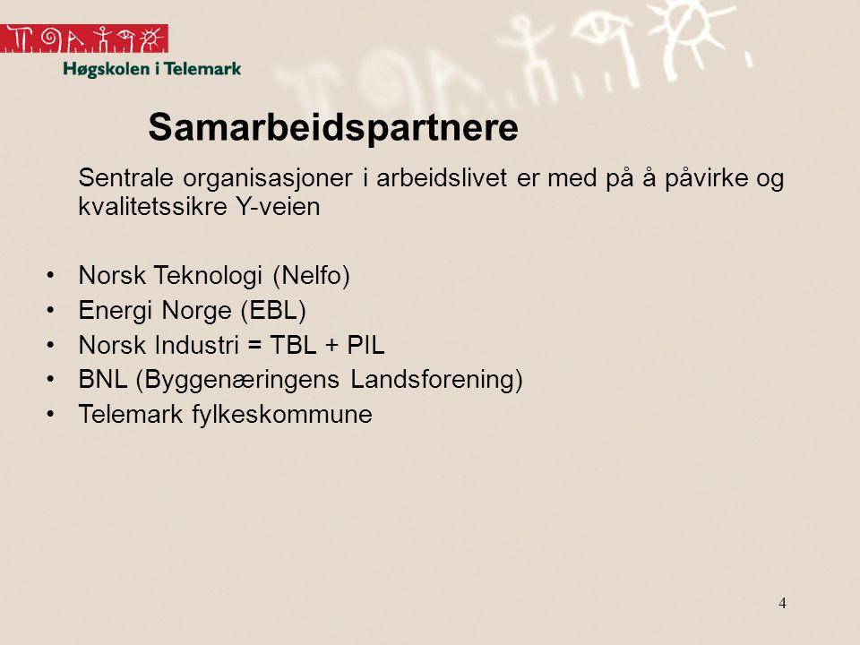 4 Samarbeidspartnere Sentrale organisasjoner i arbeidslivet er med på å påvirke og kvalitetssikre Y-veien Norsk Teknologi (Nelfo) Energi Norge (EBL) Norsk Industri = TBL + PIL BNL (Byggenæringens Landsforening) Telemark fylkeskommune
