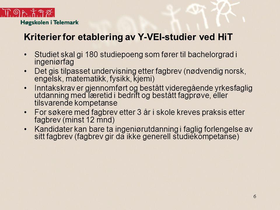 6 Kriterier for etablering av Y-VEI-studier ved HiT Studiet skal gi 180 studiepoeng som fører til bachelorgrad i ingeniørfag Det gis tilpasset undervi