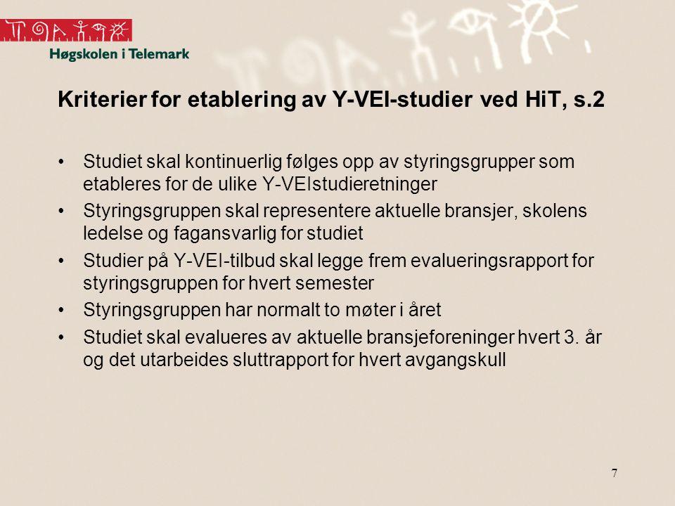 7 Kriterier for etablering av Y-VEI-studier ved HiT, s.2 Studiet skal kontinuerlig følges opp av styringsgrupper som etableres for de ulike Y-VEIstudieretninger Styringsgruppen skal representere aktuelle bransjer, skolens ledelse og fagansvarlig for studiet Studier på Y-VEI-tilbud skal legge frem evalueringsrapport for styringsgruppen for hvert semester Styringsgruppen har normalt to møter i året Studiet skal evalueres av aktuelle bransjeforeninger hvert 3.