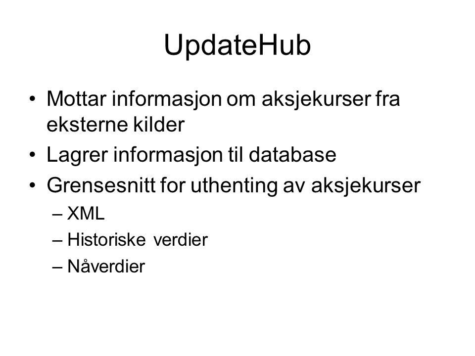 UpdateHub Mottar informasjon om aksjekurser fra eksterne kilder Lagrer informasjon til database Grensesnitt for uthenting av aksjekurser –XML –Historiske verdier –Nåverdier