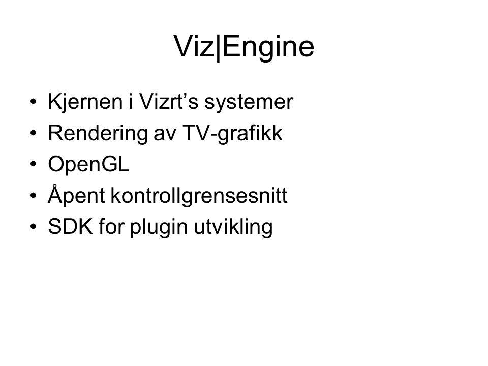 Viz|Engine Kjernen i Vizrt's systemer Rendering av TV-grafikk OpenGL Åpent kontrollgrensesnitt SDK for plugin utvikling
