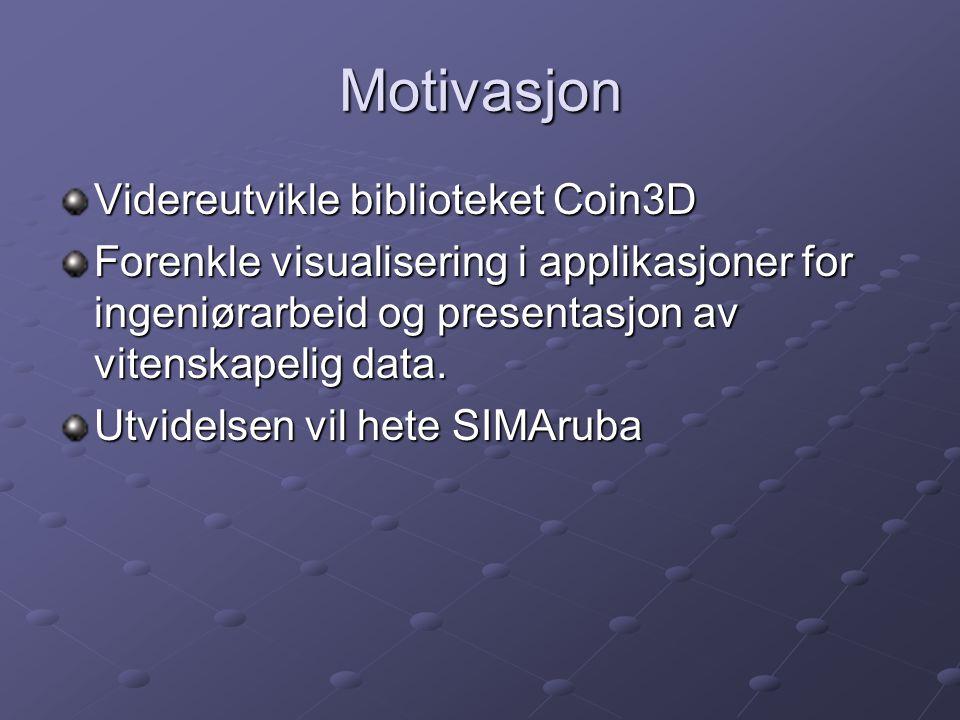 Coin3D Bibliotek på toppen av OpenGL Implementert etter samme API som TGS/Mercury sin implementasjon Open Inventor.