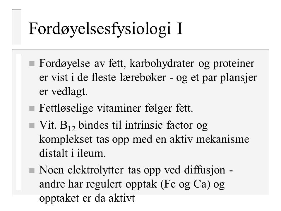 Fordøyelsesfysiologi I n Fordøyelse av fett, karbohydrater og proteiner er vist i de fleste lærebøker - og et par plansjer er vedlagt. n Fettløselige