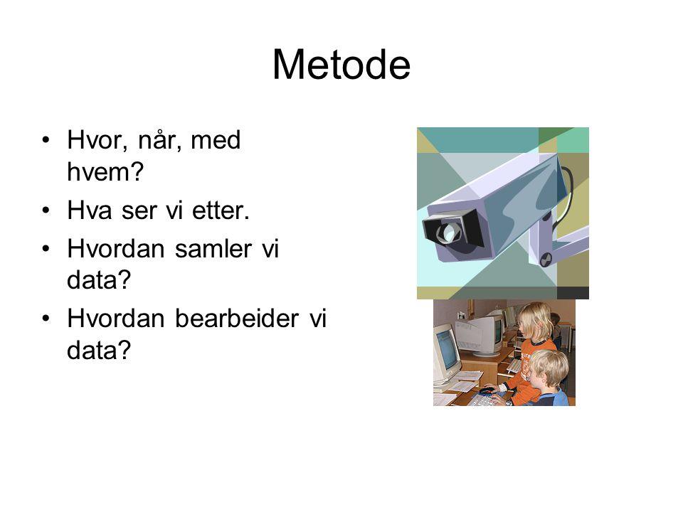 Metode Hvor, når, med hvem? Hva ser vi etter. Hvordan samler vi data? Hvordan bearbeider vi data?