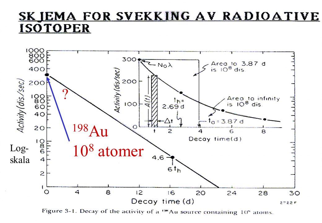198 Au 10 8 atomer ? Log- skala