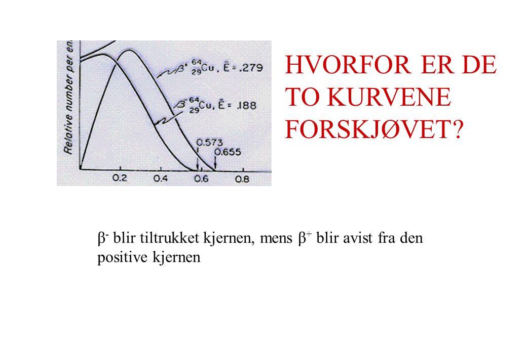 HVORFOR ER DE TO KURVENE FORSKJØVET? β - blir tiltrukket kjernen, mens β + blir avist fra den positive kjernen