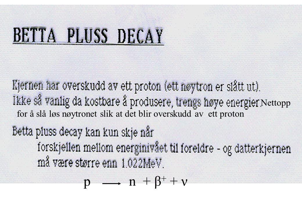Nettopp for å slå løs nøytronet slik at det blir overskudd av ett proton p n + β + + ν