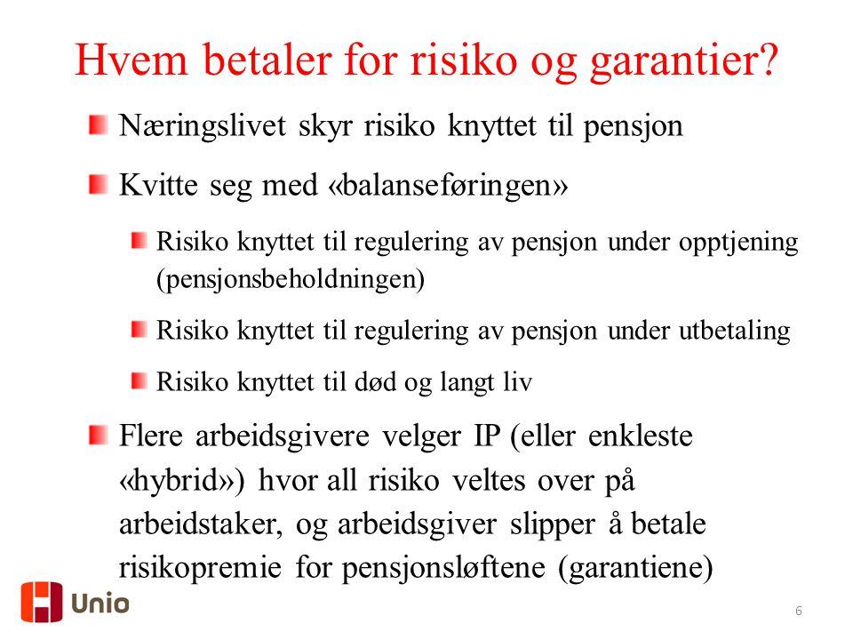 6 Hvem betaler for risiko og garantier.