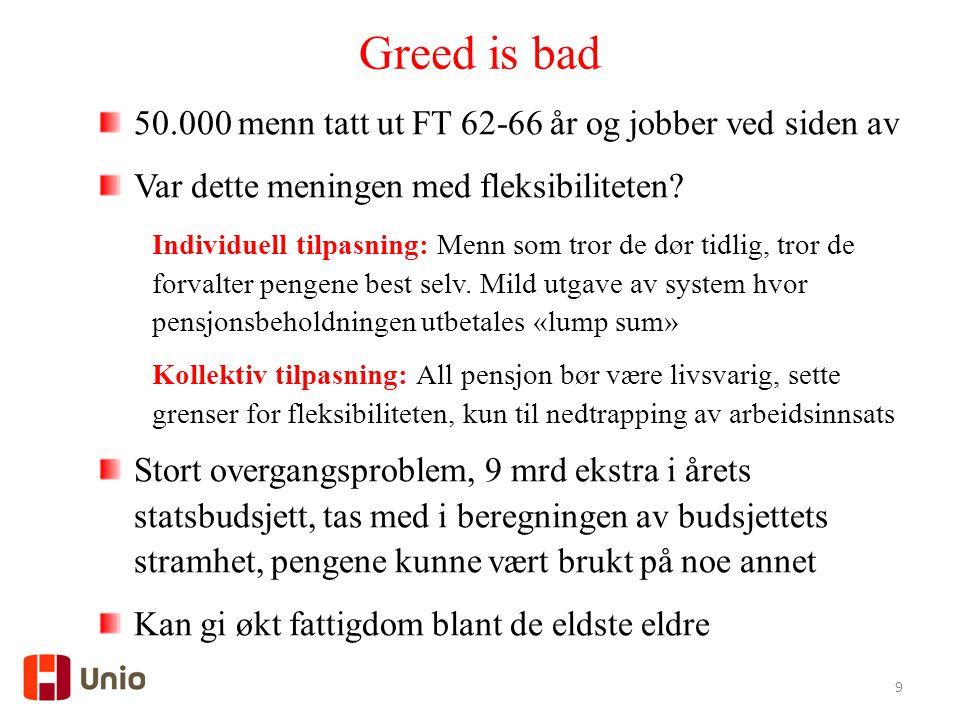 9 Greed is bad 50.000 menn tatt ut FT 62-66 år og jobber ved siden av Var dette meningen med fleksibiliteten.