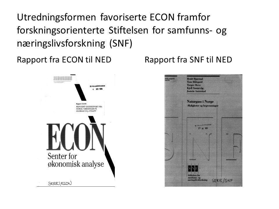Utredningsformen favoriserte ECON framfor forskningsorienterte Stiftelsen for samfunns- og næringslivsforskning (SNF) Rapport fra ECON til NEDRapport