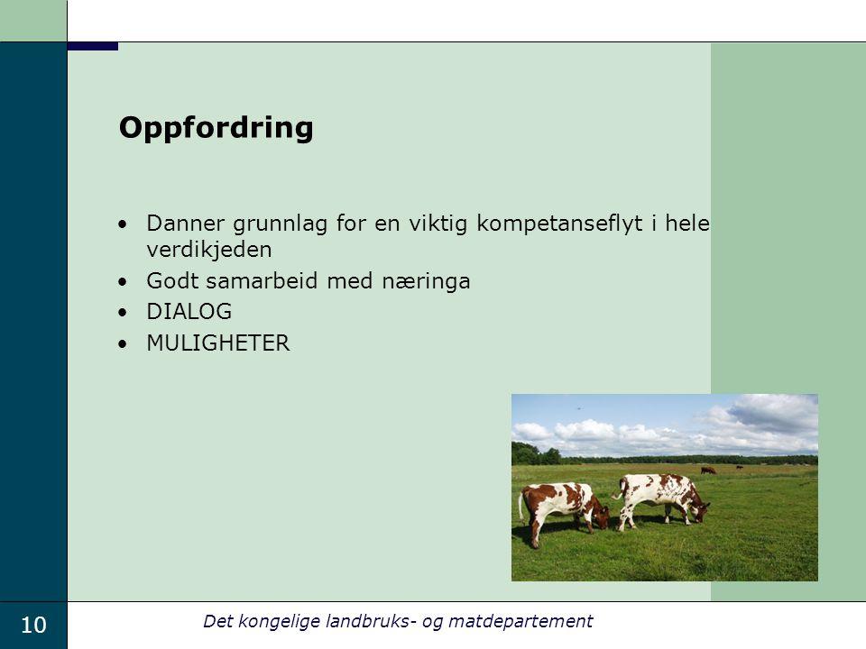 10 Det kongelige landbruks- og matdepartement Oppfordring Danner grunnlag for en viktig kompetanseflyt i hele verdikjeden Godt samarbeid med næringa DIALOG MULIGHETER