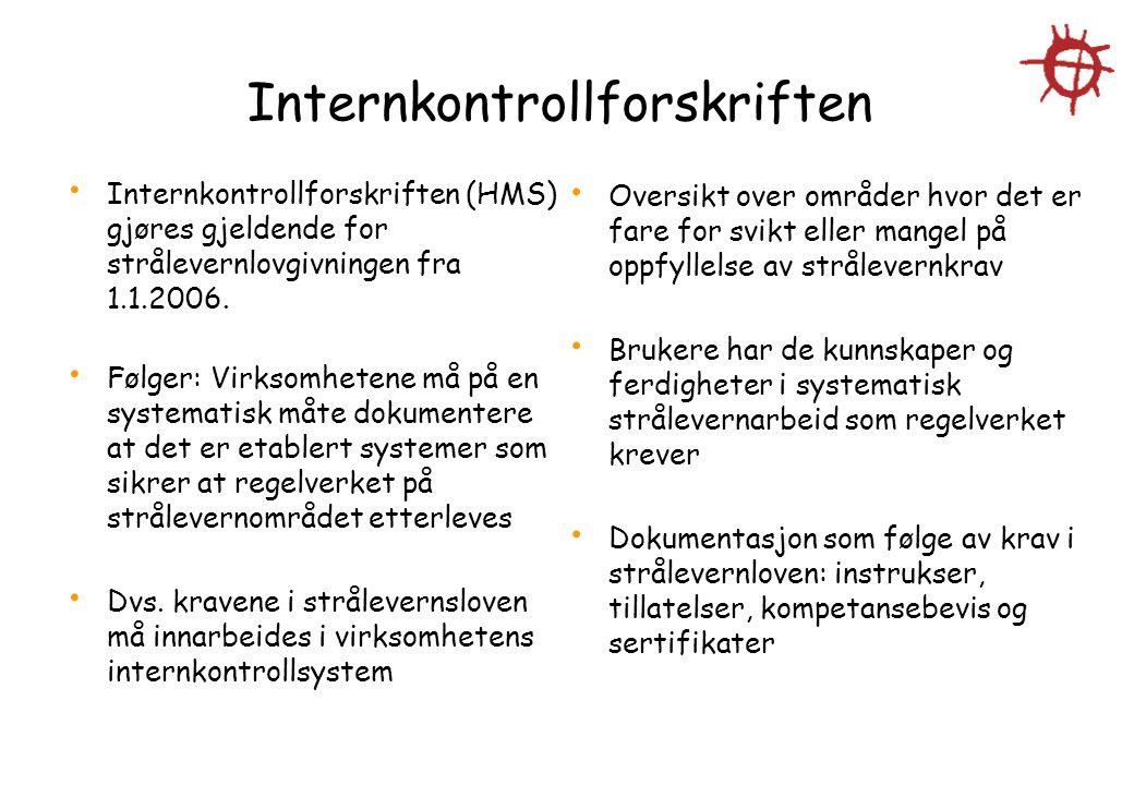 Internkontrollforskriften Internkontrollforskriften (HMS) gjøres gjeldende for strålevernlovgivningen fra 1.1.2006. Følger: Virksomhetene må på en sys
