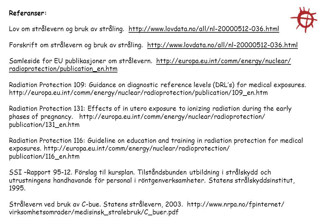 Referanser: Lov om strålevern og bruk av stråling. http://www.lovdata.no/all/nl-20000512-036.html Forskrift om strålevern og bruk av stråling. http://