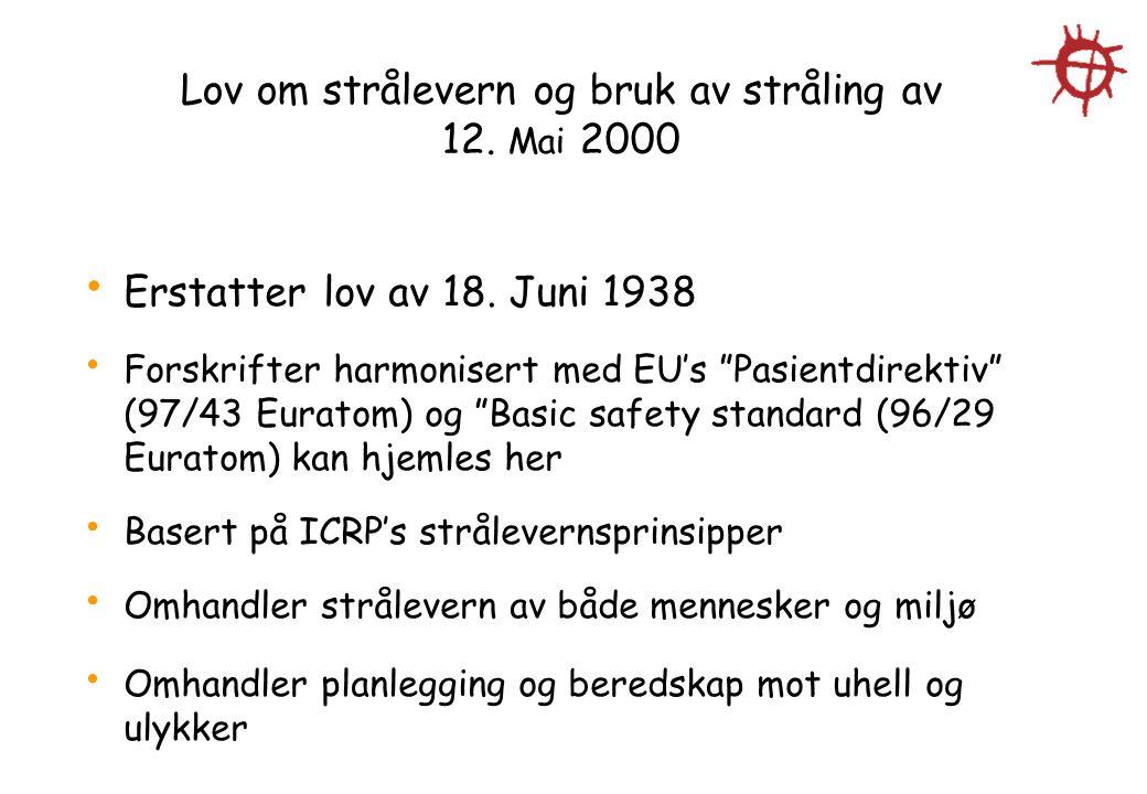 """Lov om strålevern og bruk av stråling av 12. Mai 2000 Erstatter lov av 18. Juni 1938 Forskrifter harmonisert med EU's """"Pasientdirektiv"""" (97/43 Euratom"""