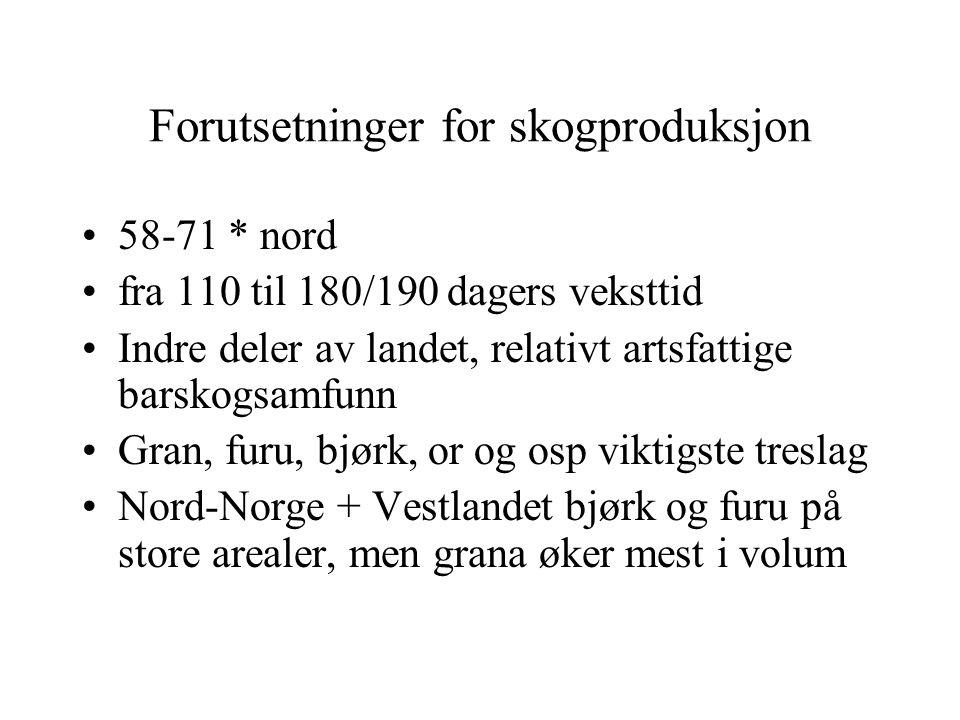 Forutsetninger for skogproduksjon 58-71 * nord fra 110 til 180/190 dagers veksttid Indre deler av landet, relativt artsfattige barskogsamfunn Gran, furu, bjørk, or og osp viktigste treslag Nord-Norge + Vestlandet bjørk og furu på store arealer, men grana øker mest i volum