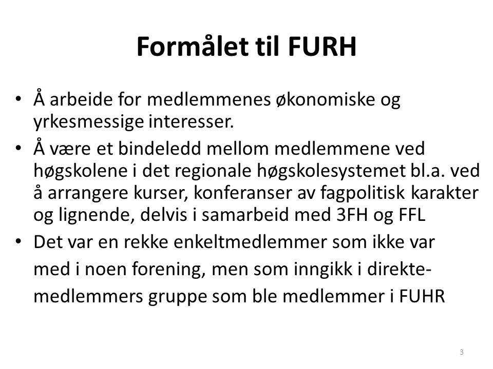 Formålet til FURH Å arbeide for medlemmenes økonomiske og yrkesmessige interesser. Å være et bindeledd mellom medlemmene ved høgskolene i det regional
