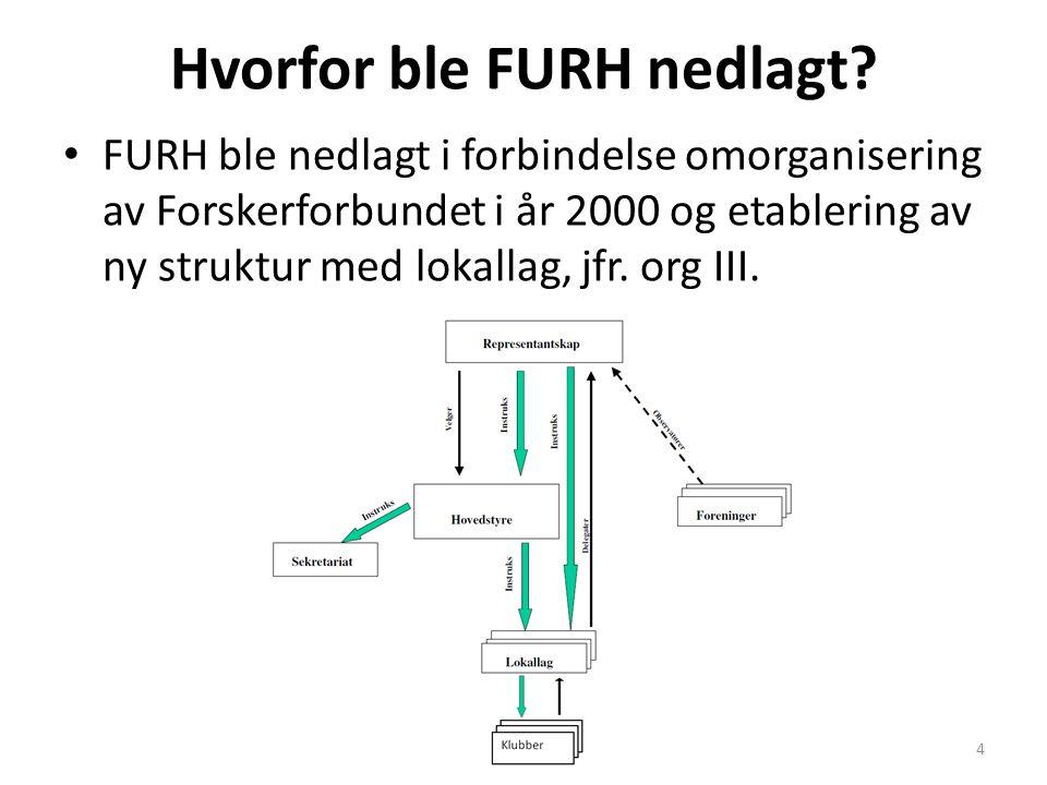 Hvorfor ble FURH nedlagt? FURH ble nedlagt i forbindelse omorganisering av Forskerforbundet i år 2000 og etablering av ny struktur med lokallag, jfr.