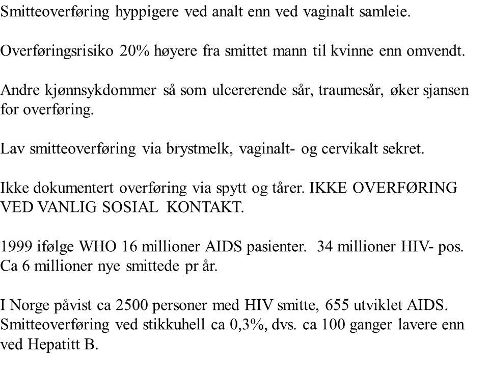 Smitteoverføring hyppigere ved analt enn ved vaginalt samleie. Overføringsrisiko 20% høyere fra smittet mann til kvinne enn omvendt. Andre kjønnsykdom