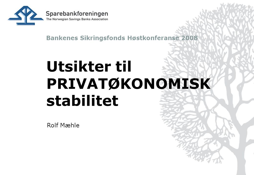 Bankenes Sikringsfonds Høstkonferanse 2008 Utsikter til PRIVATØKONOMISK stabilitet Rolf Mæhle