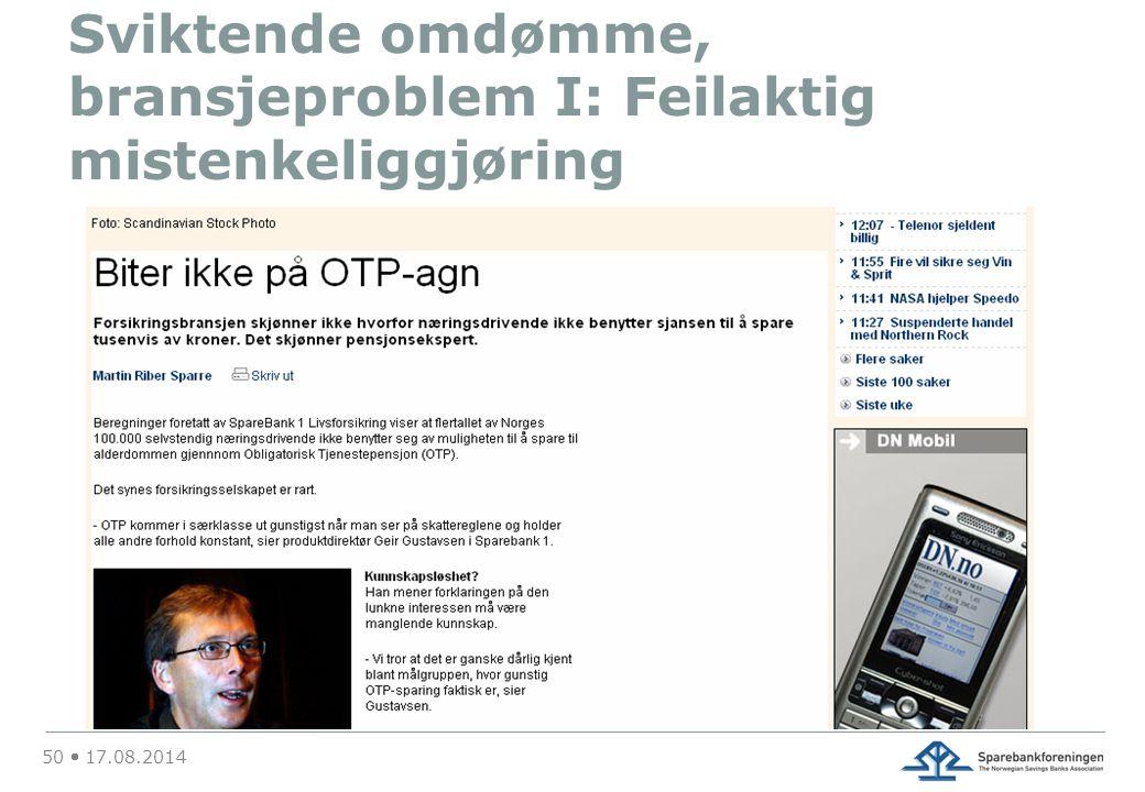 Sviktende omdømme, bransjeproblem I: Feilaktig mistenkeliggjøring 50  17.08.2014