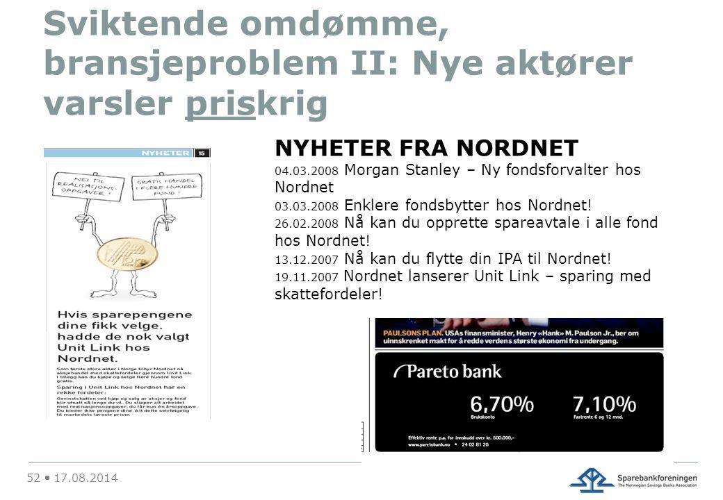 Sviktende omdømme, bransjeproblem II: Nye aktører varsler priskrig 52  17.08.2014 NYHETER FRA NORDNET 04.03.2008 Morgan Stanley – Ny fondsforvalter hos Nordnet 03.03.2008 Enklere fondsbytter hos Nordnet.