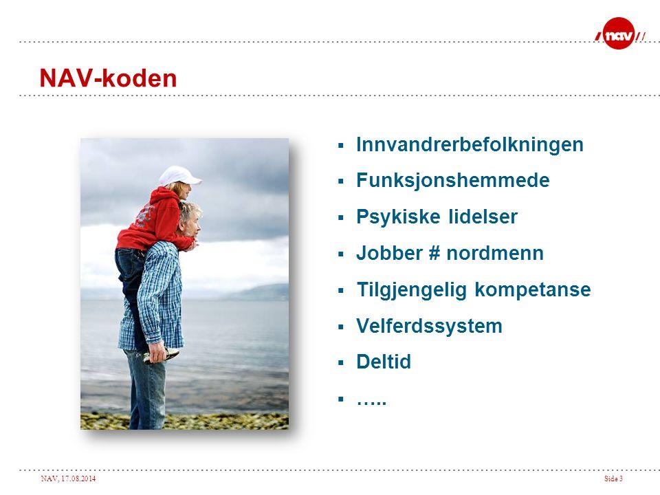 NAV, 17.08.2014Side 3 NAV-koden  Innvandrerbefolkningen  Funksjonshemmede  Psykiske lidelser  Jobber # nordmenn  Tilgjengelig kompetanse  Velferdssystem  Deltid  …..