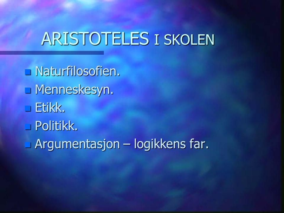 ARISTOTELES I SKOLEN n Naturfilosofien. n Menneskesyn. n Etikk. n Politikk. n Argumentasjon – logikkens far.