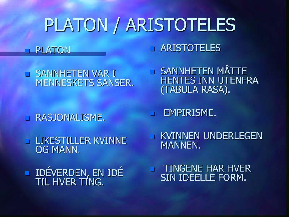 PLATON / ARISTOTELES n PLATON n SANNHETEN VAR I MENNESKETS SANSER. n RASJONALISME. n RASJONALISME. n LIKESTILLER KVINNE OG MANN. n LIKESTILLER KVINNE