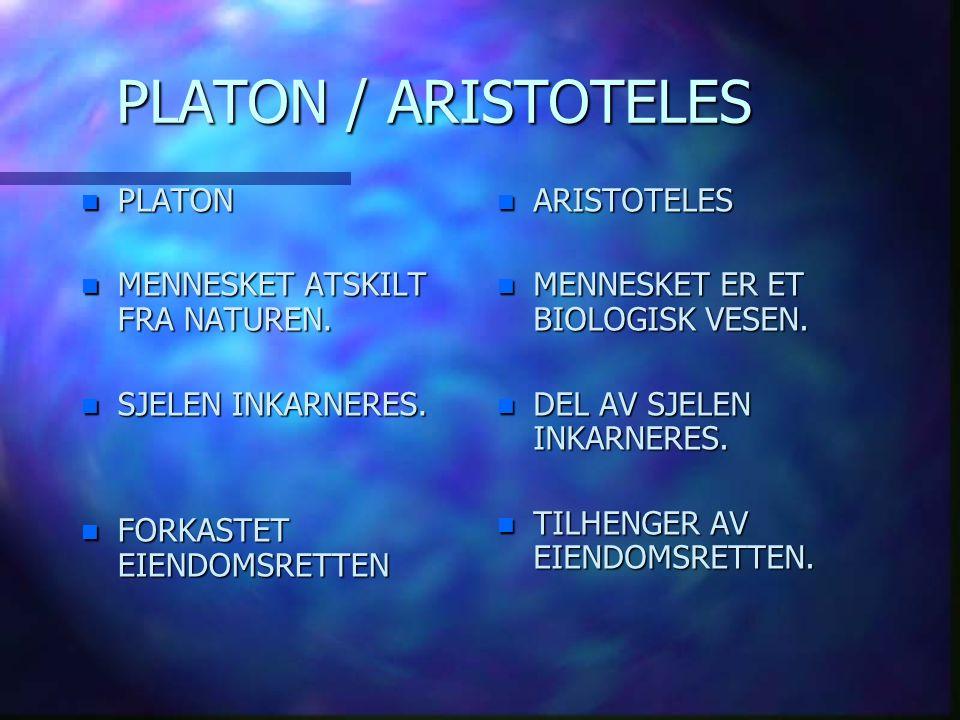 PLATON / ARISTOTELES n ARISTOTELES n MENNESKET ER ET BIOLOGISK VESEN. n DEL AV SJELEN INKARNERES. n TILHENGER AV EIENDOMSRETTEN. n PLATON n MENNESKET