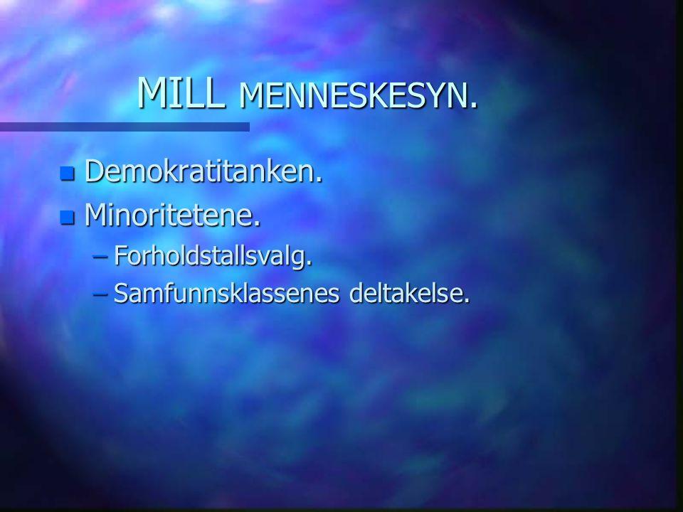 MILL MENNESKESYN. n Demokratitanken. n Minoritetene. –Forholdstallsvalg. –Samfunnsklassenes deltakelse.