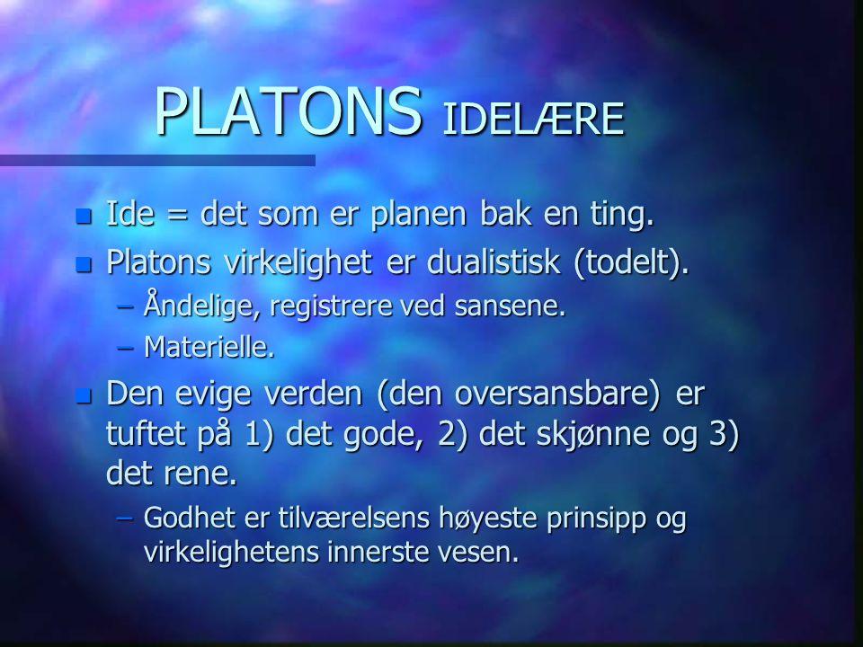 PLATONS IDELÆRE n Ide = det som er planen bak en ting. n Platons virkelighet er dualistisk (todelt). –Åndelige, registrere ved sansene. –Materielle. n