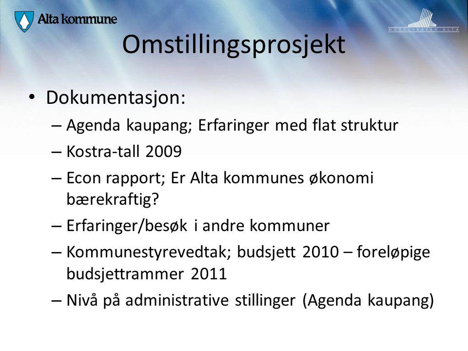 Omstillingsprosjekt Dokumentasjon: – Agenda kaupang; Erfaringer med flat struktur – Kostra-tall 2009 – Econ rapport; Er Alta kommunes økonomi bærekraf