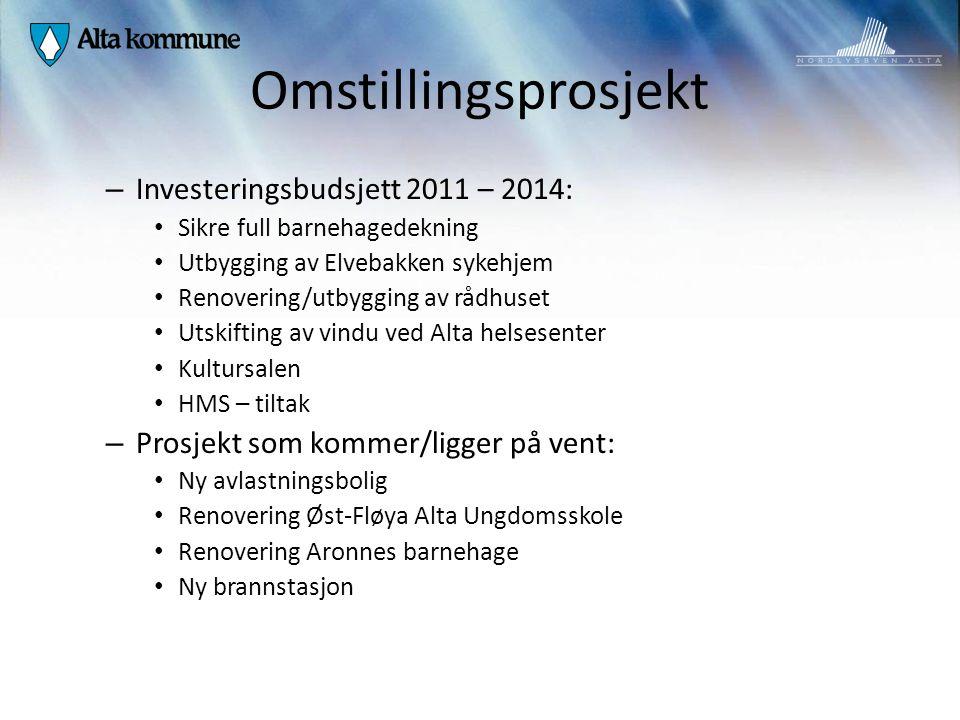 Omstillingsprosjekt – Investeringsbudsjett 2011 – 2014: Sikre full barnehagedekning Utbygging av Elvebakken sykehjem Renovering/utbygging av rådhuset
