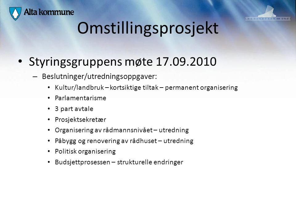 Omstillingsprosjekt Styringsgruppens møte 17.09.2010 – Beslutninger/utredningsoppgaver: Kultur/landbruk – kortsiktige tiltak – permanent organisering