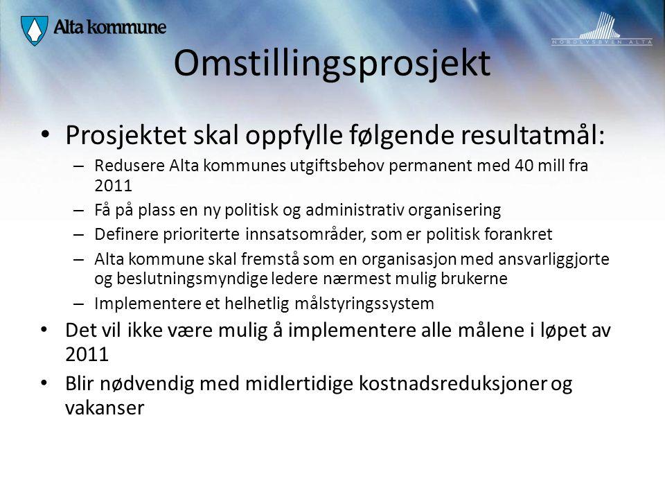 Omstillingsprosjekt Prosjektet skal oppfylle følgende resultatmål: – Redusere Alta kommunes utgiftsbehov permanent med 40 mill fra 2011 – Få på plass