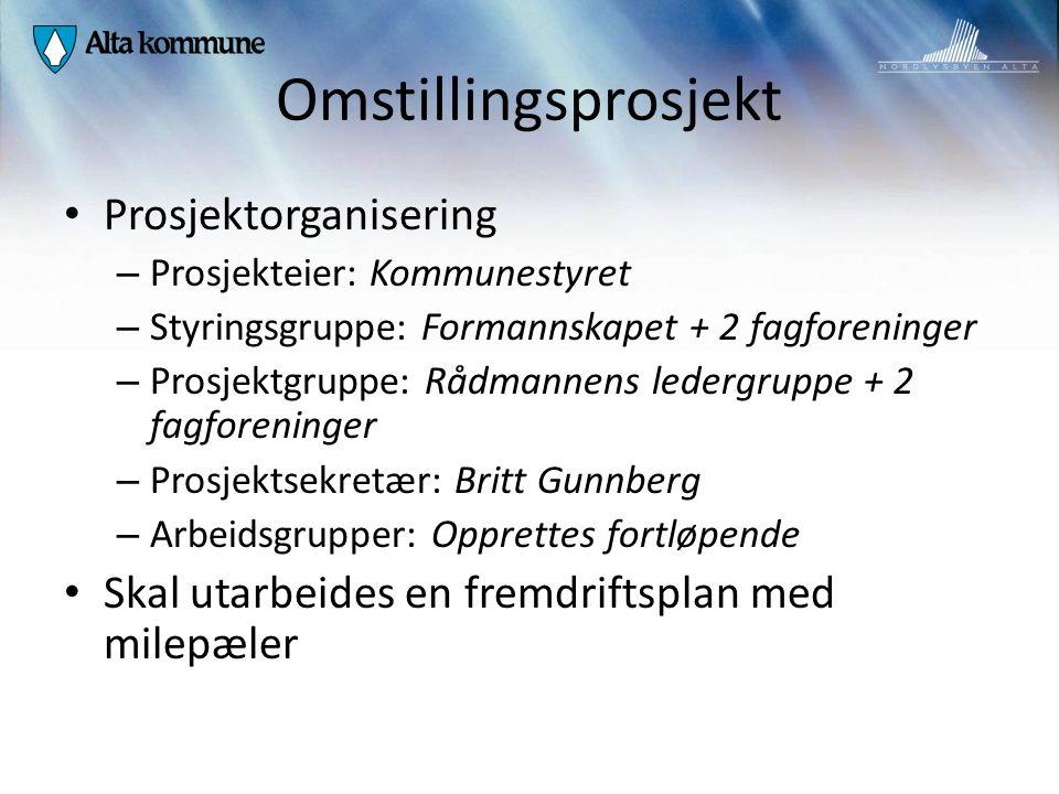 Omstillingsprosjekt Prosjektorganisering – Prosjekteier: Kommunestyret – Styringsgruppe: Formannskapet + 2 fagforeninger – Prosjektgruppe: Rådmannens