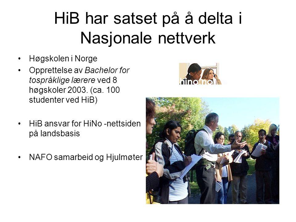 HiB har satset på å delta i Nasjonale nettverk Høgskolen i Norge Opprettelse av Bachelor for tospråklige lærere ved 8 høgskoler 2003.
