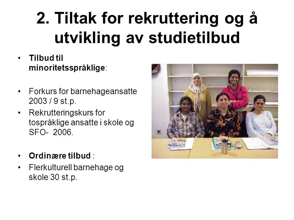 2. Tiltak for rekruttering og å utvikling av studietilbud Tilbud til minoritetsspråklige: Forkurs for barnehageansatte 2003 / 9 st.p. Rekrutteringskur