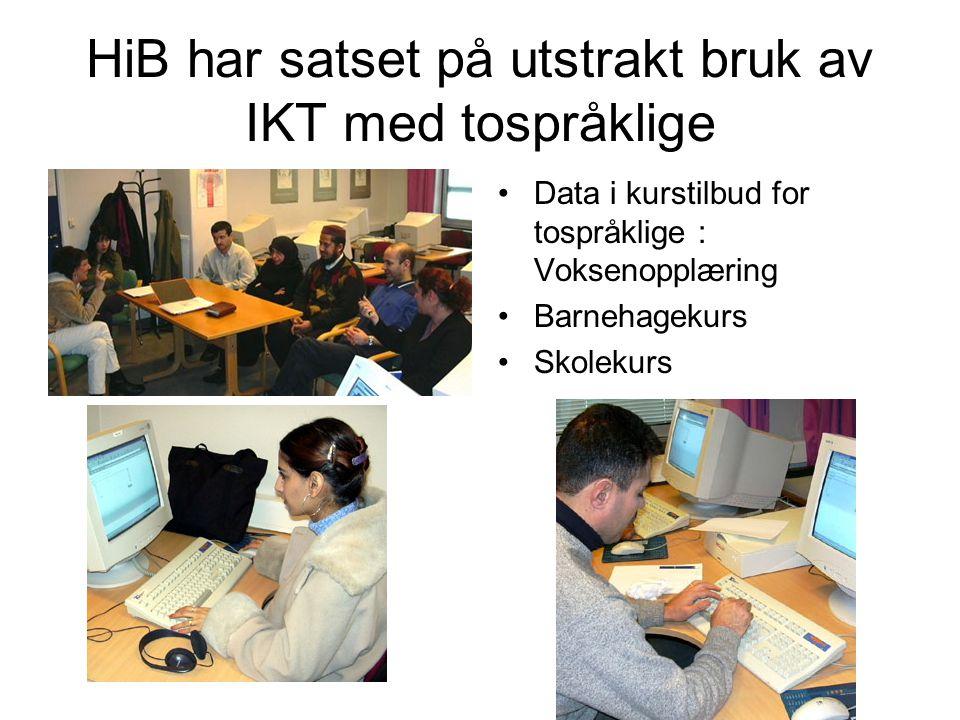 HiB har satset på utstrakt bruk av IKT med tospråklige Data i kurstilbud for tospråklige : Voksenopplæring Barnehagekurs Skolekurs