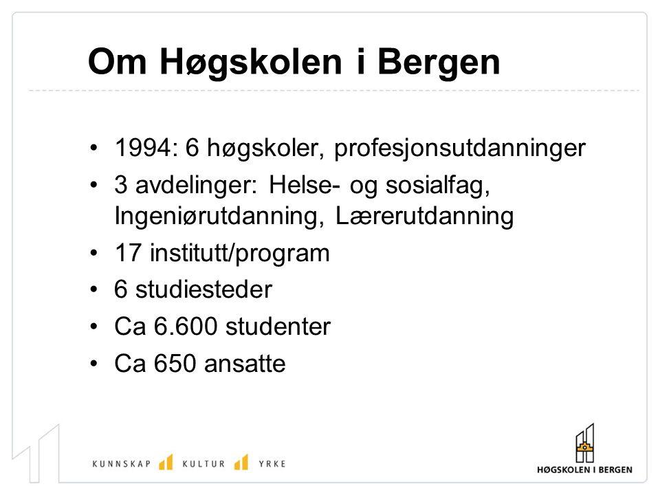 Om Høgskolen i Bergen 1994: 6 høgskoler, profesjonsutdanninger 3 avdelinger: Helse- og sosialfag, Ingeniørutdanning, Lærerutdanning 17 institutt/progr