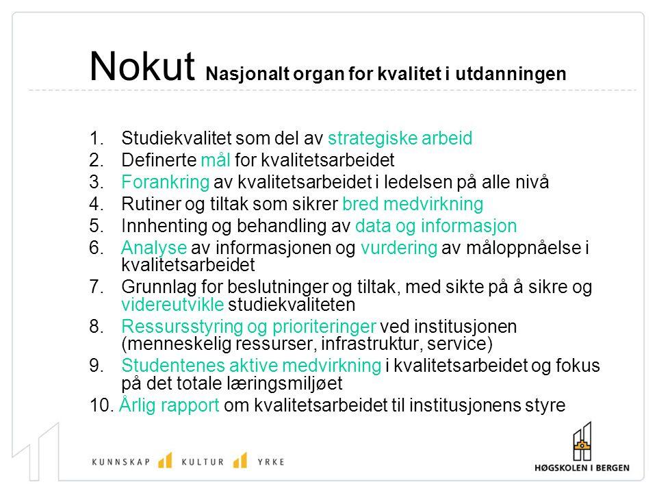 Nokut Nasjonalt organ for kvalitet i utdanningen 1. Studiekvalitet som del av strategiske arbeid 2. Definerte mål for kvalitetsarbeidet 3. Forankring